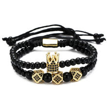 New Fashion Double Layers CZ Crown Cube Adjustable Men Bracelet 4/6mm Black Stone Beads Braiding For Jewelry Gift