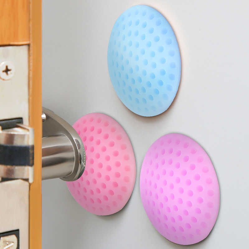 Suef 1PCS Silicone Self Adhesive Wall Protectors Door Handle Bumpers Buffer Guard Stoppers Silencer Crash Pad Doorknob Lock@1