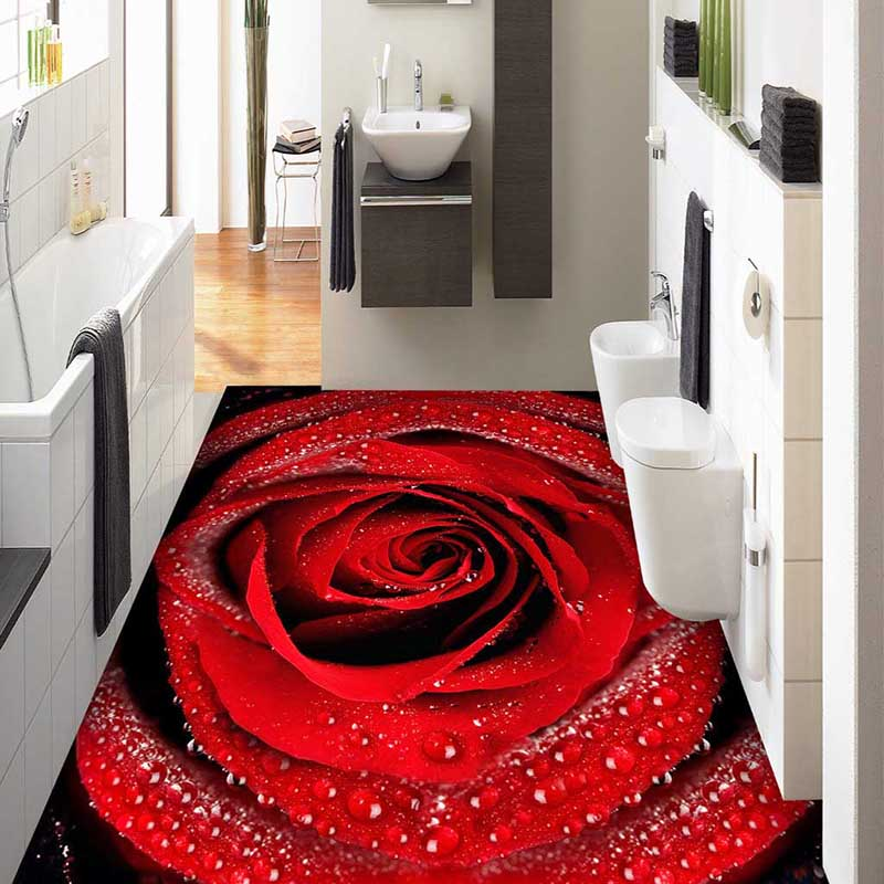 Good Hot Moderne Badezimmer 3D ROSE Blume Boden Malerei Wandbild Tapete  Rutschfeste Verdickt Selbstklebende PVC Tapete Aufkleber #120 In Hot  Moderne Badezimmer ...