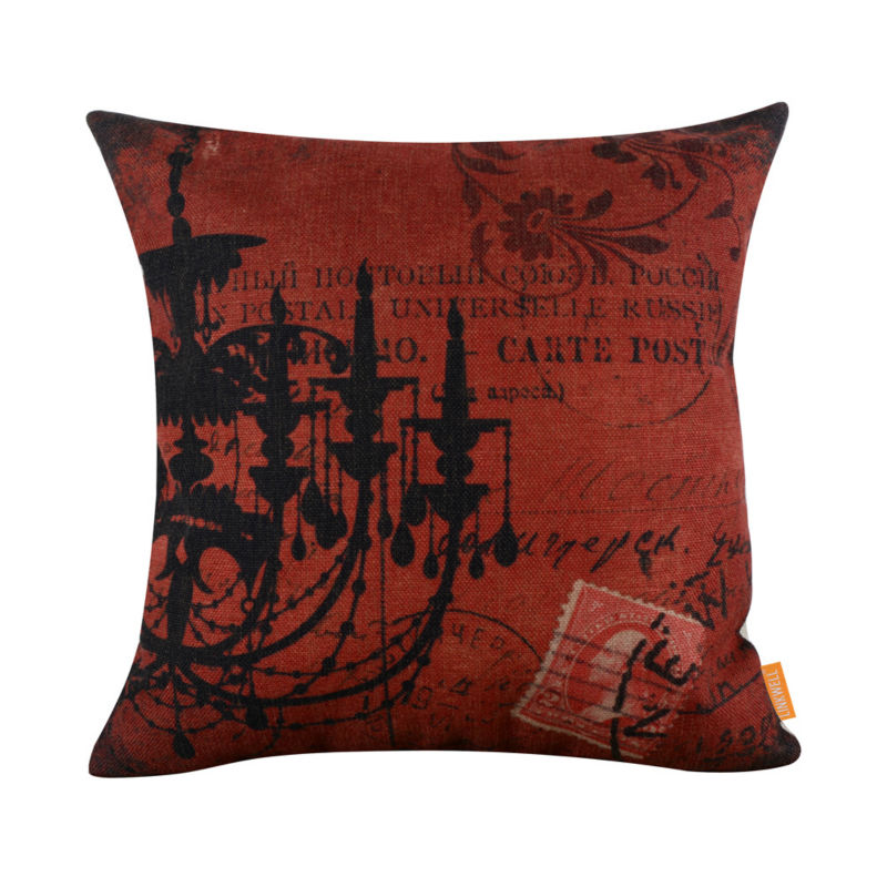 linkwell 4545cm shabby chic dark red chandelier burlap pillow case droplight lamp american style - Shabby Chic Chandelier