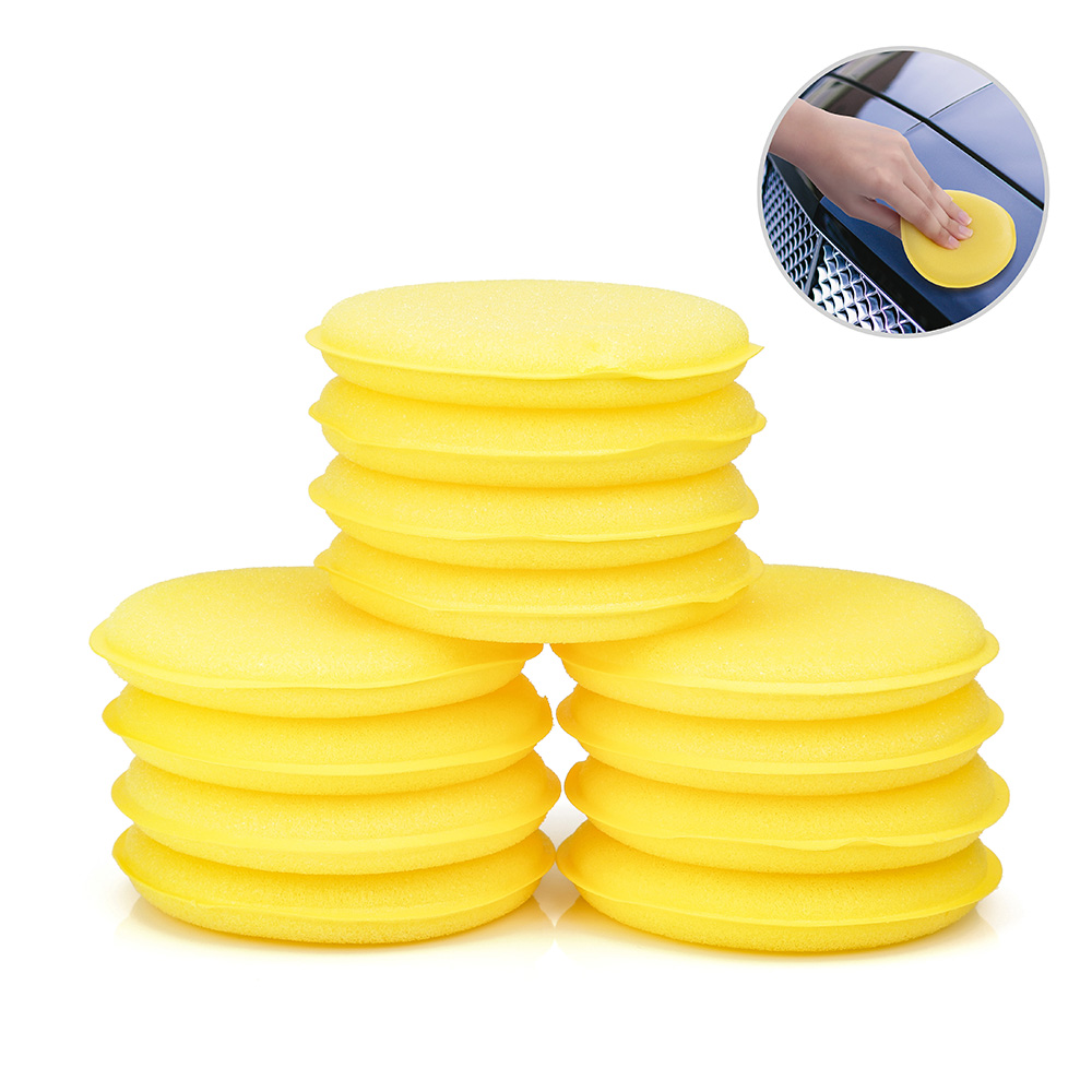 12pcs/lot Car Vehicle Wax Polish Foam Sponge Hand Soft Wax Yellow Sponge Pad/Buffer For Car Detailing Care Wash Clean