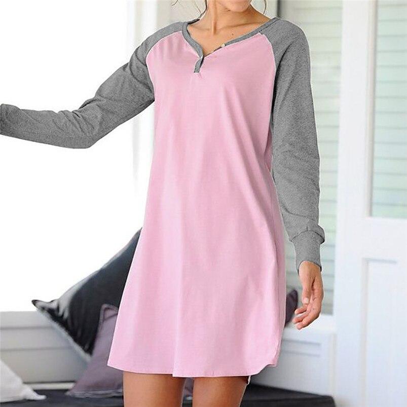 Casual Women's V-Neck Long-Sleeve Patchwork   Nightgown   Dress Looose Sweet   Sleepshirt   Sleeveless Women Girls Sleep Dress 40JA23