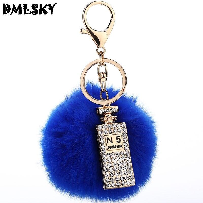 DMLSKY 20 pcs/lot bouteille de parfum en gros porte-clés en peluche porte-clés en métal pour sac de voiture porte-clé porte-clés pour femmes M3027