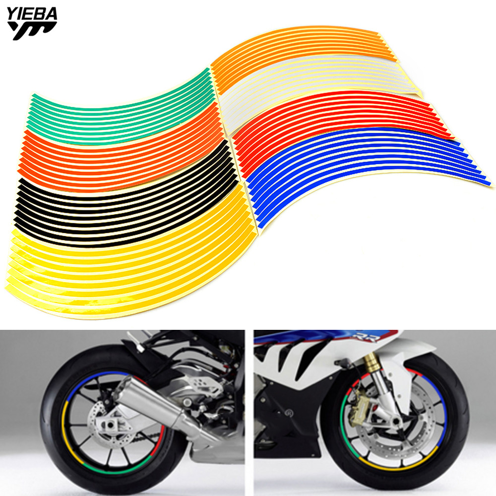 16 Strips Wheel Sticker Reflective Rim Stripe Tape Bike Motorcycle Car 17 18inch For KAWASAKI Z250 Z800 Z1000 Z750 Ninja250 300