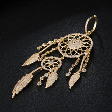 UMGODLY 1PC Luxury Cubic Zirconia Indians Dream Catcher Earrings Leaves Gold Color Big Earring Women Fashion Designer Jewelry