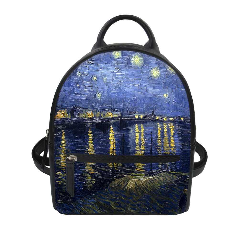 Vincent Lady Leather Customized Luxury Starry Bagpack Backpack Bolsa Print Mini Shoulder Teenagers Van Gogh Rucksack Women Night nw0OPk8X