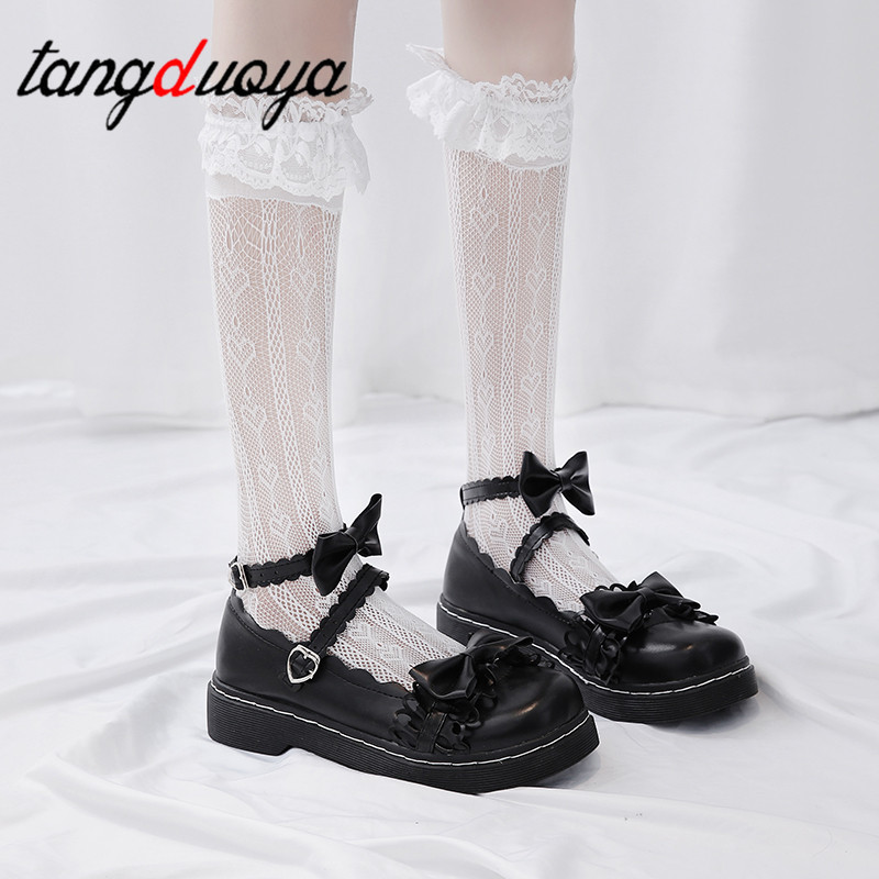 Lolita Shoes Uniform Lace Princess Kawaii Buckle-Straps Women's Bow Cosplay Maid Student