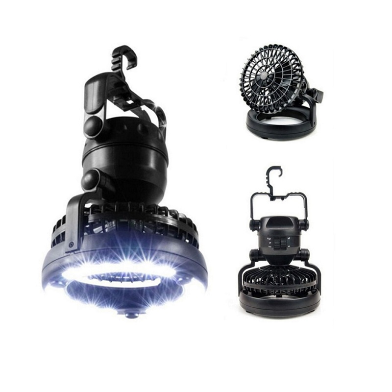 Outdoor Camping Fan Light 18 LED 2 in 1 Portable Lantern Flashlight Hiking Fishing Camping Lamp With Hanging Hook