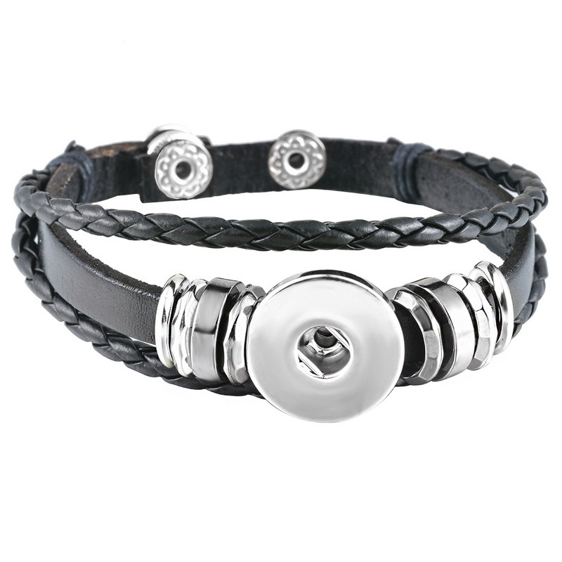 Top Leather Retro Handmade Snap Button Charm Bracelet Jewelry Fit 18mm Snap Button Braided Bracelets Beaded Wristband
