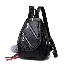 Backpack Women Fashion Zipper Strap Ladies Hanging Bag Backpacks Casual Banquet Multi Function Leather Bags Zip Pocket PU Bag letter print zip pocket backpack