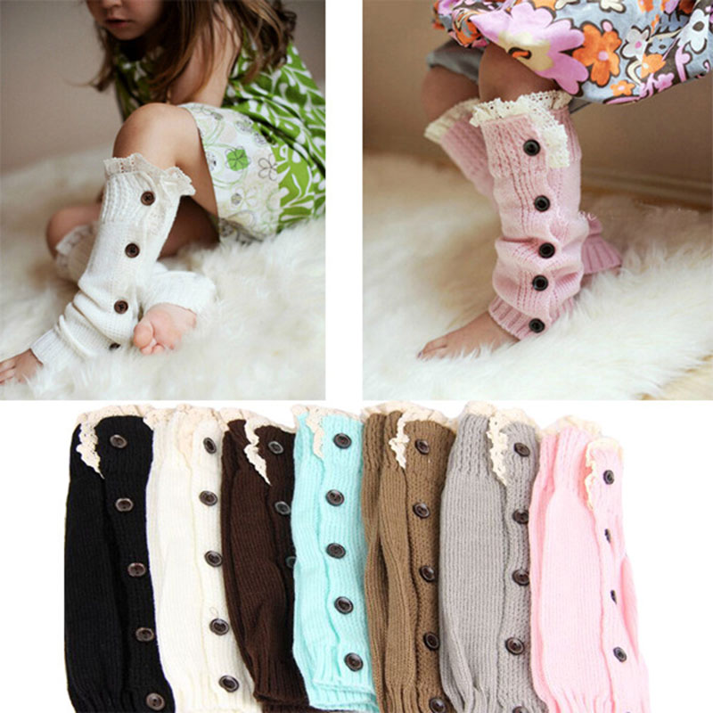 Retail Baby Knitted Leg Warmers Girl Cotton Lacy Stockings With Buttons Toddler Kids Children Crawling Tights