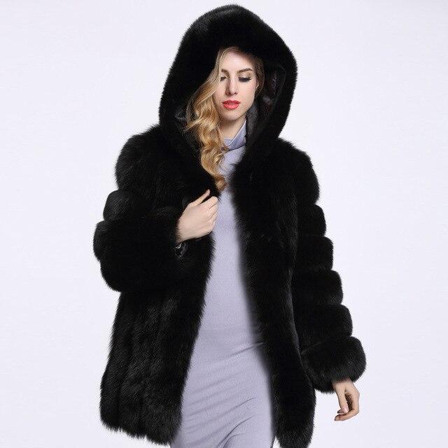 2016 Новый толстый зимний куртка с капюшоном теплый искусственный мех пальто высокого качества имитация лиса пальто крупных женщин размер Пальто