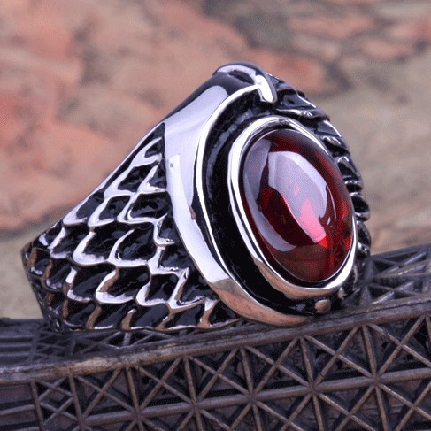 Punk Real stainless steel Ring Mens restore ancient ways 13KT big red stones rubine Finger Rings for man High Quality