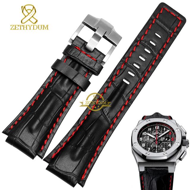 Interfaz convexa Deportes Venda de reloj de pulsera de cuero Genuino correa de reloj 26mm Marrón Negro rojo cosido mens relojes de pulsera de banda