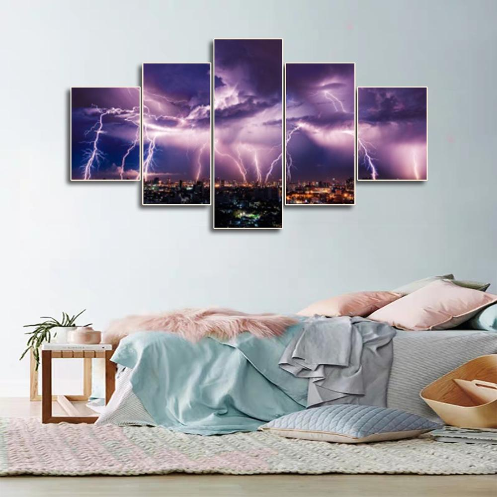 Laeacco Canvas Calligraphy Painting 5 Panel City Night Posters and Prints Wall Artwork Wall Pictures Home Kitchen Decor