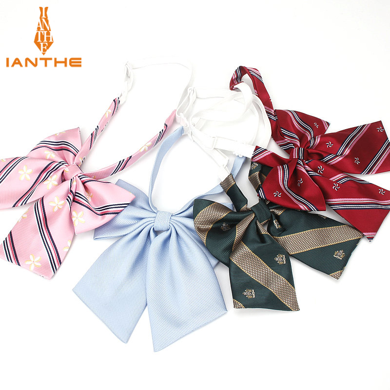 JK Bow Tie Striped Solid Uniform Collar Butterfly Cravat Japanese High School Girls Students Preppy Chic Free Of Tying A Knot