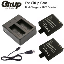 Battery Dual Charger + 2Pcs 1000mAh Original GitUP Backup Rechargeable Li-on Battery For GitUP Git2 / Git2P Sports Action Camera