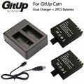 Batería cargador doble + 2 unids 1000 mah original gitup recargable li-on de la batería de copia de seguridad para gitup git2 deporte cámara de la acción