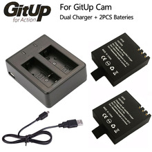 Батареи Двойной Зарядное Устройство + 2 Шт. 1000 мАч Оригинальный GitUP Резервное Копирование Аккумуляторная Батарея льва Для GitUP Git2/Git2P Спорта Экшн-Камеры