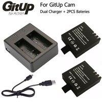 Battery Dual Charger 2Pcs 950mAh Backup Rechargable Li On Battery For GitUP Git2 Sport Action Camera