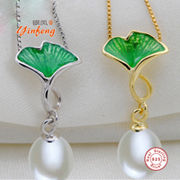 [MeiBaPJ] 9-10mm big size Rice shape pearl necklace Elegant 925 sterling silver color pendant necklace for women with gift box