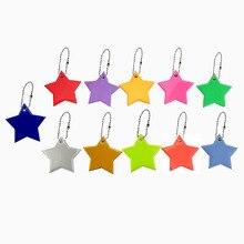 50 шт. маленькая звезда милый мягкий ПВХ отражающий кулон Шарм сумка аксессуары светоотражающий брелок для безопасности дорожного движения
