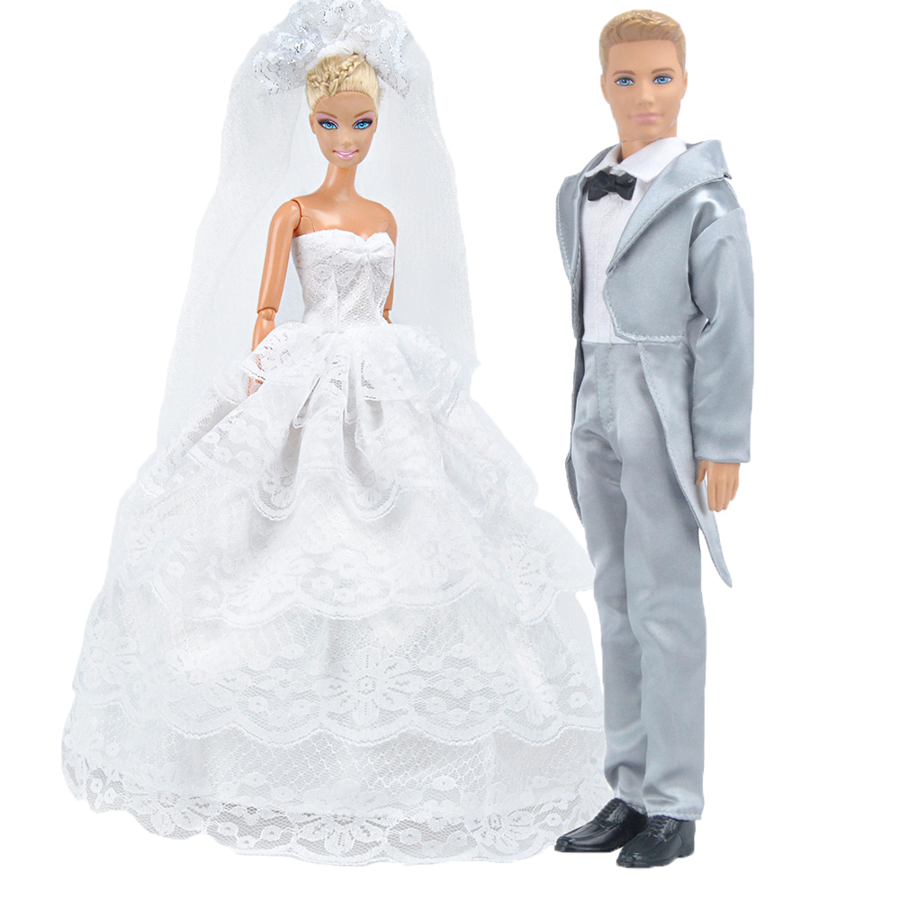 E-TING New Arrivals Doll Clothes Fantasy Unisex Suit Wedding Bride Dress Silver Tuxedo For Barbie Ken Doll Accessories Shoes 30 new styles festival gifts top trousers lifestyle suit casual clothes trousers for barbie doll 1 6 bbi00636
