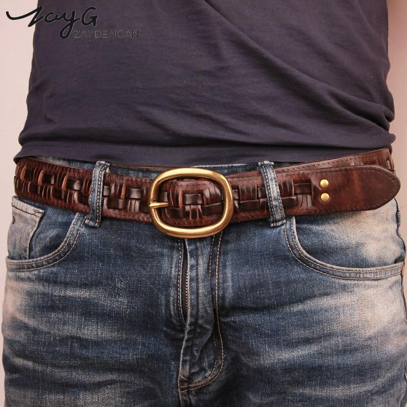 ZAYG New Belt Man Fashion Mens belts luxury genuine leather braided Real Cow skin straps men