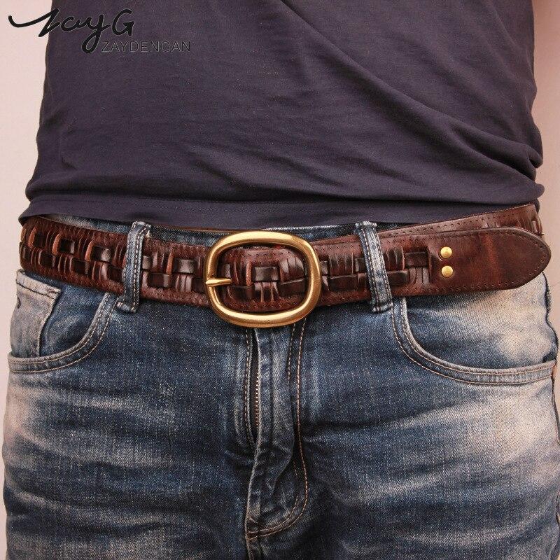 ZAYG nuevo cinturón de Moda hombre cinturones de cuero genuino de lujo trenzado Real de piel de vaca correas hombres Jeans de faja de hombre regalo de los hombres