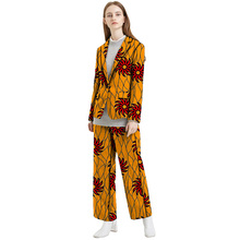 Fashion African print women blazer with pant suit elegant dashiki Ankara suits tailored made for office ladies