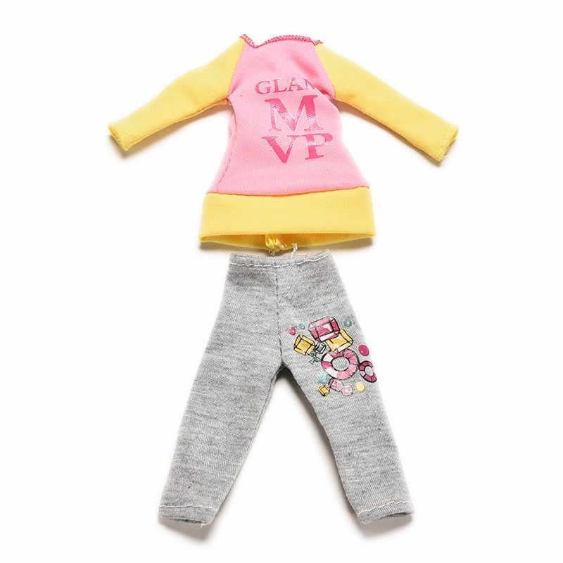 واحد مجموعة دمية الملابس عارضة طويلة الأكمام بلوزة + بنطلون السراويل ملابس لل دمية باربي ل 1/6 bjd دمية التبعي