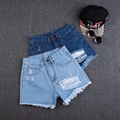 2017 Vintage Ripped Hole Fringe High Waist Blue Denim Shorts Women Casual Pocket Jeans Shorts Summer Girl hot shorts