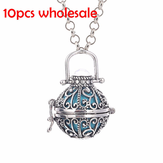 10pcs/lot Wholesale Maxi Necklace Angel Ball Pendant Necklaces for Women Metal Antique Silver Plated Sweater Chain Necklace