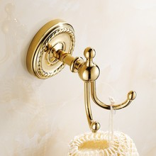 лучшая цена Gold Color Brass Clothes Hooks Wall Mounted Towel Hooks clothes hook Bathroom Accessories Robe Hooks ZD770