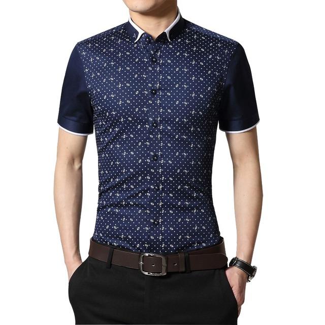 Más el Tamaño 5XL Moda de Verano 2016 Hombres Top Camisetas de Manga Corta Camisa Casual Polka Dot Estrella Camisa Slim Fit Social para Los Hombres ropa