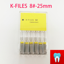 6pcs/pack 8#-25mm Dental K Files Root Canal Endo Dentist Tools Hand Stainless Steel Dentistry Lab