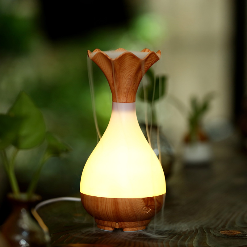 Wood Vase Jade Bottle Led Humidifier Aroma Air Diffuser Purifier Atomizer essential oil diffuser
