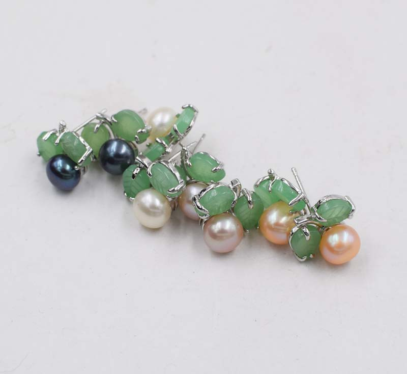 one pair white/black/pink/purple freshwater pearl earrings coin green jade flower 6-7mm FPPJ wholesale beads nature image