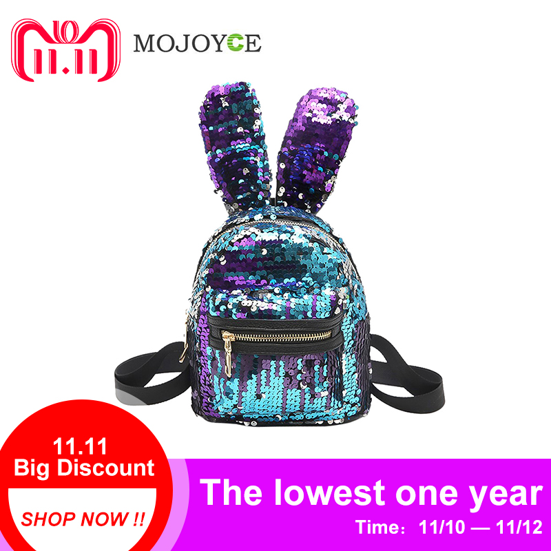 Mini Sequins Backpack Cute Rabbit Ears Shoulder Bag For Women Girls Travel Bag Bling Shiny Backpack Mochila Feminina Escolar New mara s dream fashion new backpack pu leather women bag sweet girl mini shoulder bag cute rabbit ear sequins rivet small backpack