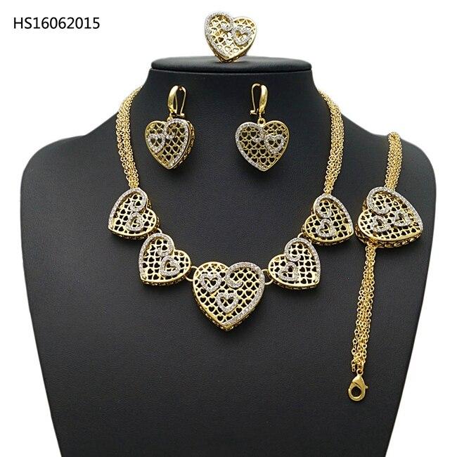 YULAILI 2018 cadeau de mariée mariage nigérian perles africaines ensemble de bijoux femme mode Dubai or coeur Design accessoires
