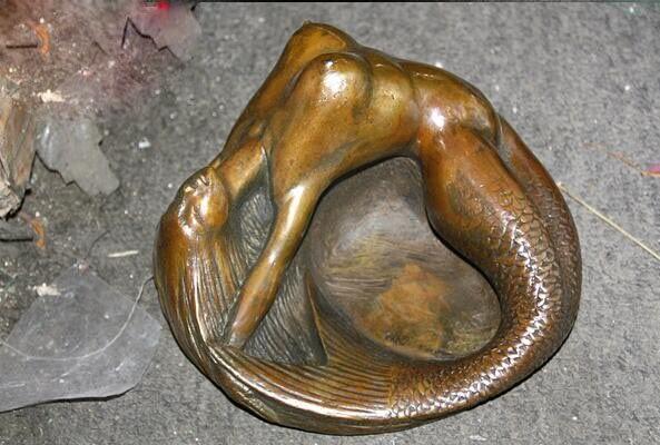 Pot à tabac statue d'art en Bronze petite sirène cendrier de beauté - 3