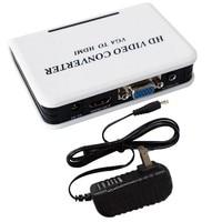 VGA-HDMI VGA Audio to HDMI Video Projector Converter Adapter Box With US plug Power Adapter