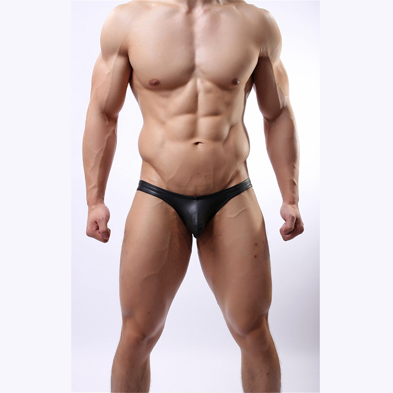 New Sexy Men Faux Leather Panties Black Patent Leather Briefs Men's Fun Underwear U Convex Thongs Plus Size M-XL
