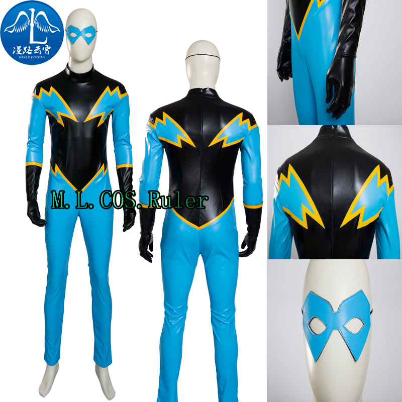 Newest Black Lightning Jefferson Pierce Battle Uniform Cosplay Costume Custom Made Full Suit Any Size For Unisex+Jumpsuit+Patch