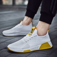 White Mesh Flying Weaving Sneakers Mens Shoes Casual Men Running Fashion New Lace Up Man Zapatos De Hombre