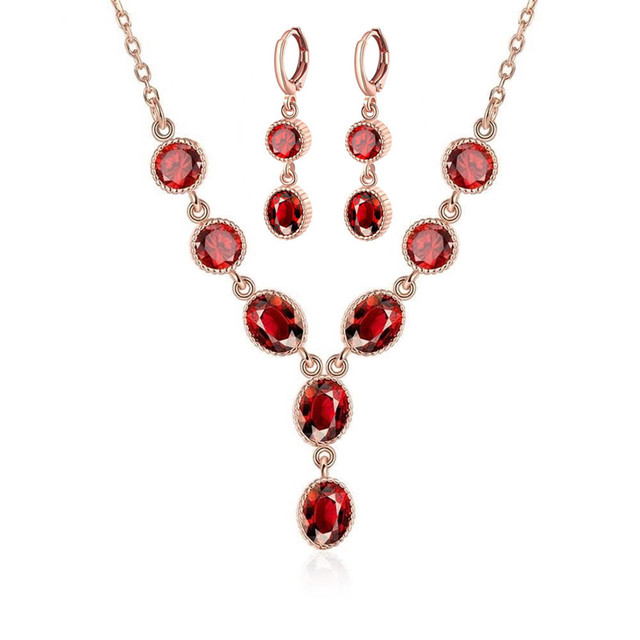 Necklace Earring Rose Gold Color Jewelry Set Red Resin Gems