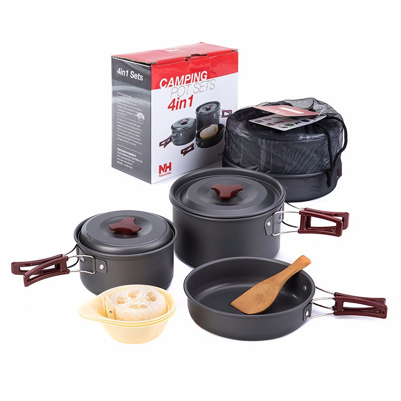 NEW Naturehike 2 3 Person Non stick Picnic Pot And Pan Camping Pot Sets Outdoor Folding Cookware
