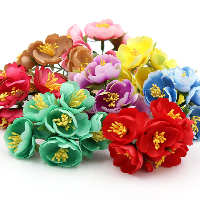 6pcs/lot Silk Artificial Rose Flowers Bouquet Wedding Decoration ...