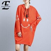Elegdream Marke Bekleidung Übergroße Pullover Kleid Plus Größe Frauen Top Tuniken Mode-druck Baumwolle T-shirt Kleider Weibliche Vestido