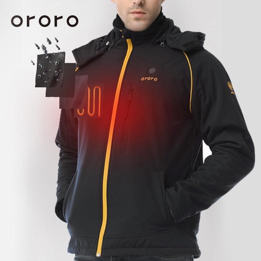 ORORO Mens Heated Jacket Soft Shell Detachable Hood Electric Battery Pack Windbreaker Fleece Jacket Windbreak Resistance Fleece